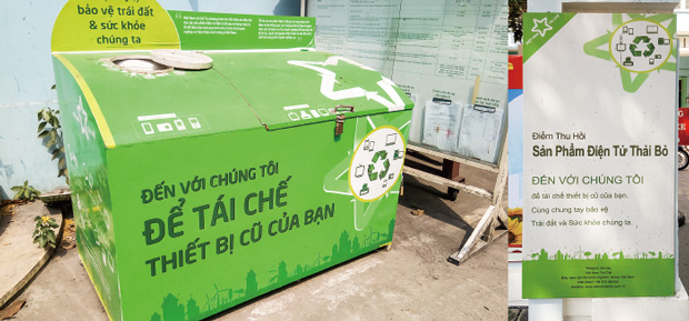 アップルやHPが資金提供するプロジェクト「ベトナム・リサイクルズ(VRP)」では、電子機器の廃棄物を無償で回収している=18年3月