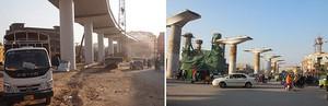 中国支援で15年10月に着工したパキスタン初の近代的都市鉄道、オレンジライン。延長27.1キロ(うち地下区間1.7キロ)で、一部区間は18年2月に試運転を開始。18年内に開通予定だ=3月、ラホール(NNA撮影)